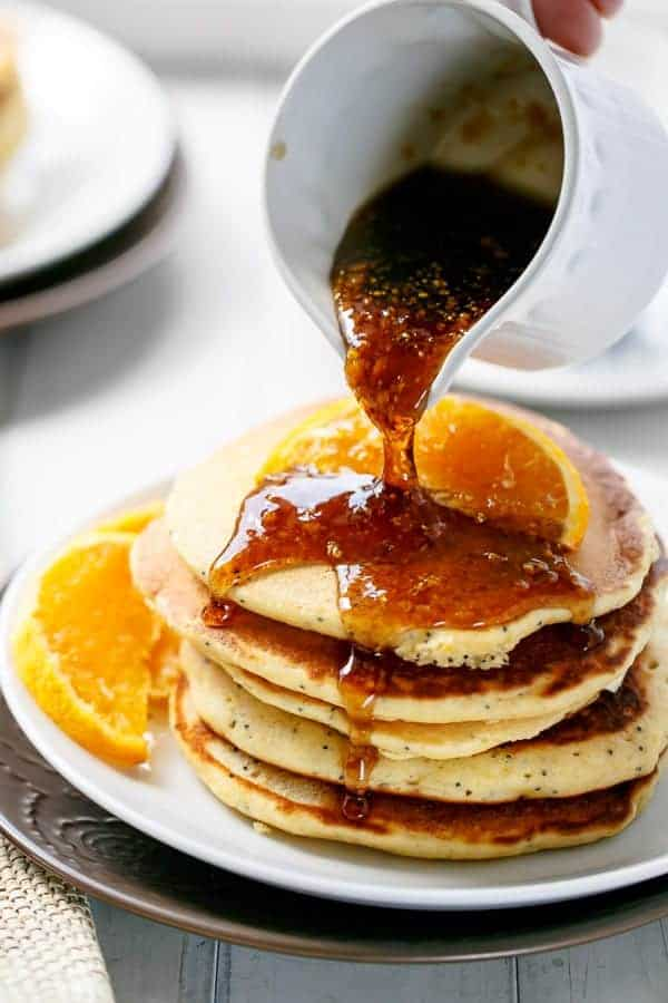 Orange Poppyseed Pancakes http://cafedelites.com