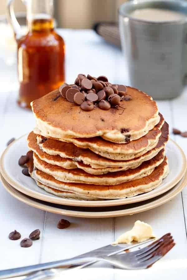 Choc Chip Banana Bread Pancakes on https://cafedelites.com