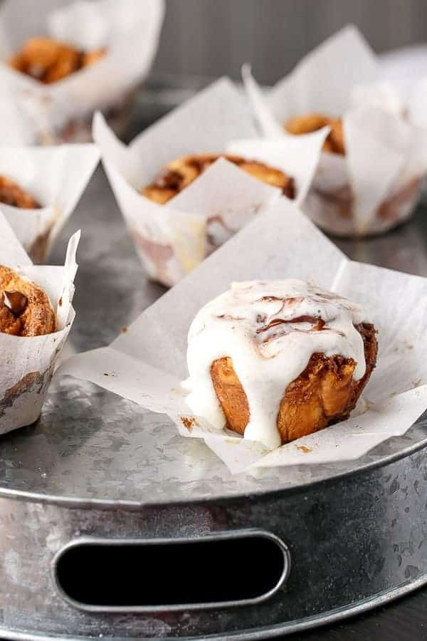 No Yeast Choc Chip Cinnamon Rolls