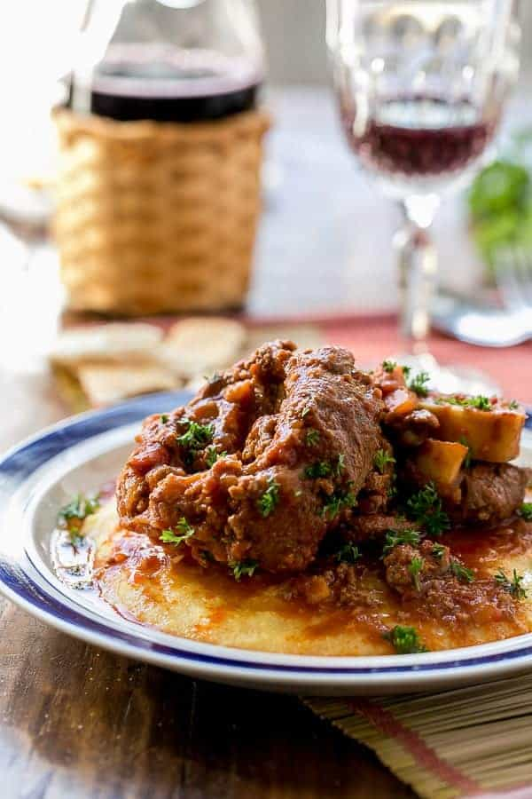 Osso Bucco in Red Wine Salsa with Soft Polenta | http://cafedelites.com