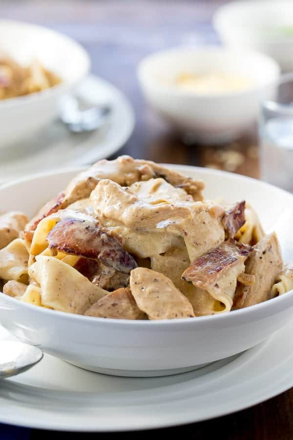 Lightened Up Chicken Carbonara | http://cafedelites.com