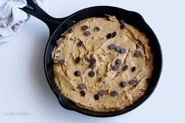 Peanut Butter Choc Chip Deep Dish Skillet Cookie http://cafedelites.com