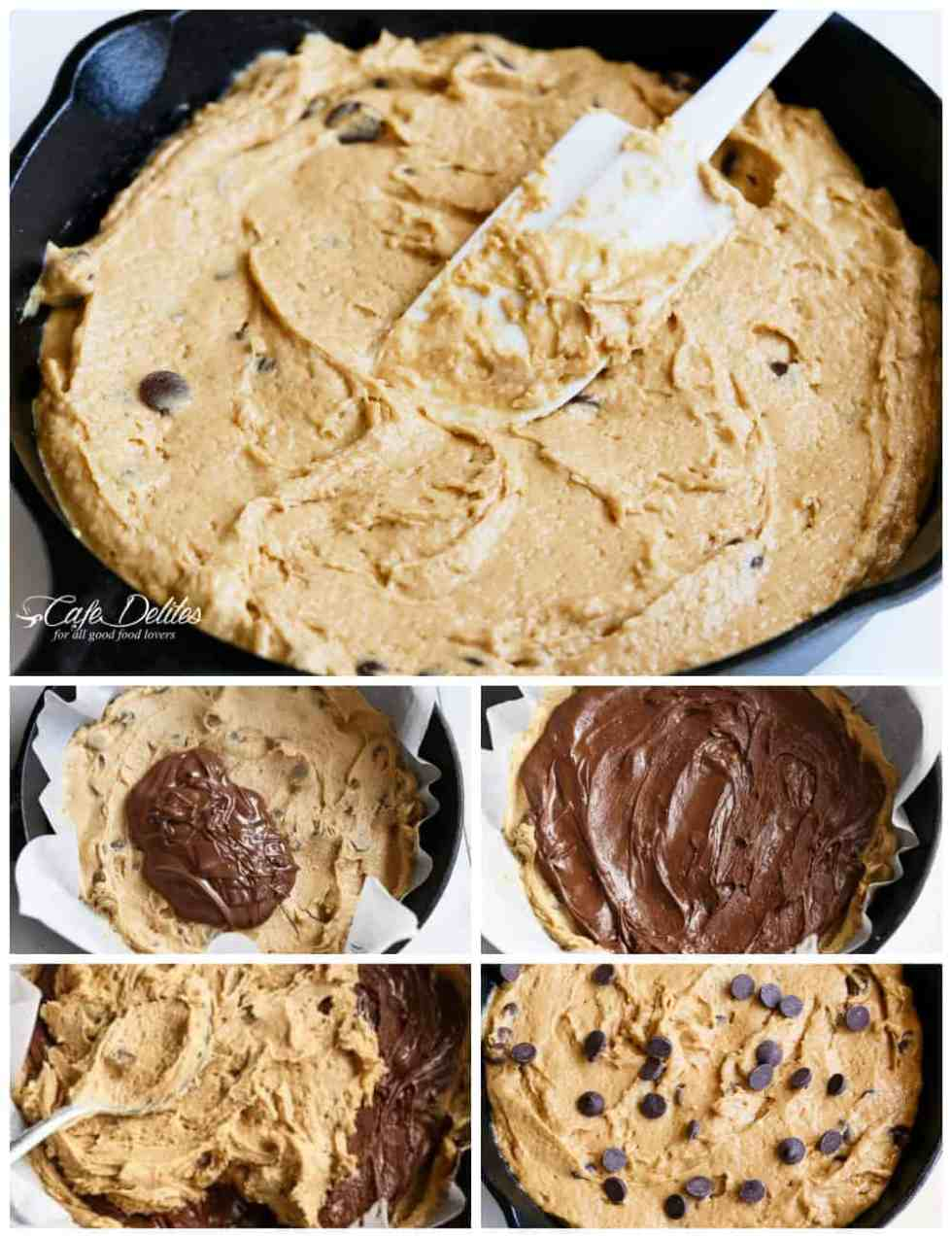 How To Make A Nutella Stuffed Skillet Cookie | cafedelites.com