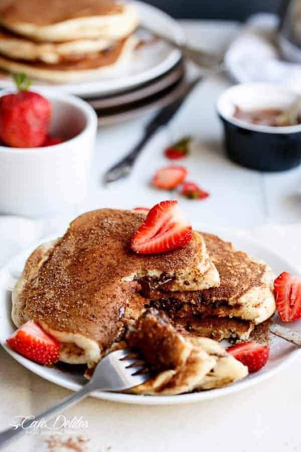 Chocolate or Nutella Stuffed Churro Pancakes