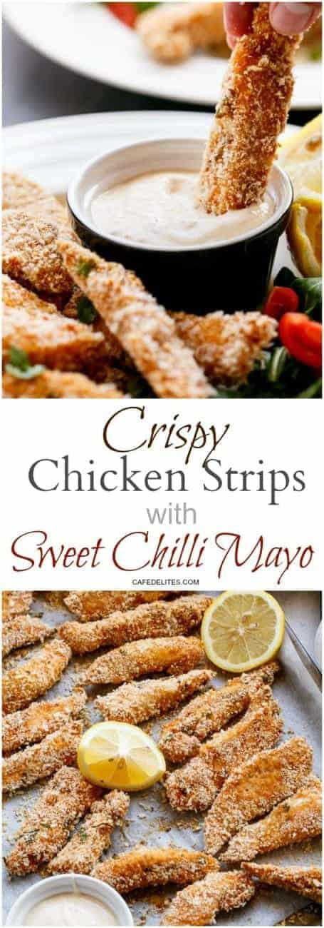 Garlic Chicken Strips with Sweet Chilli Mayo https://cafedelites.com