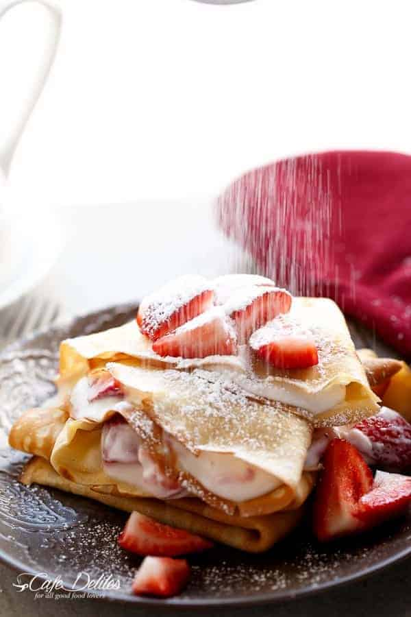 Macerated Strawberries and Cream Crepes | https://cafedelites.com