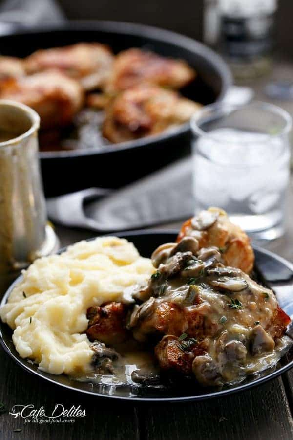 Crispy Beer Chicken With A Creamy Beer Mushroom Gravy