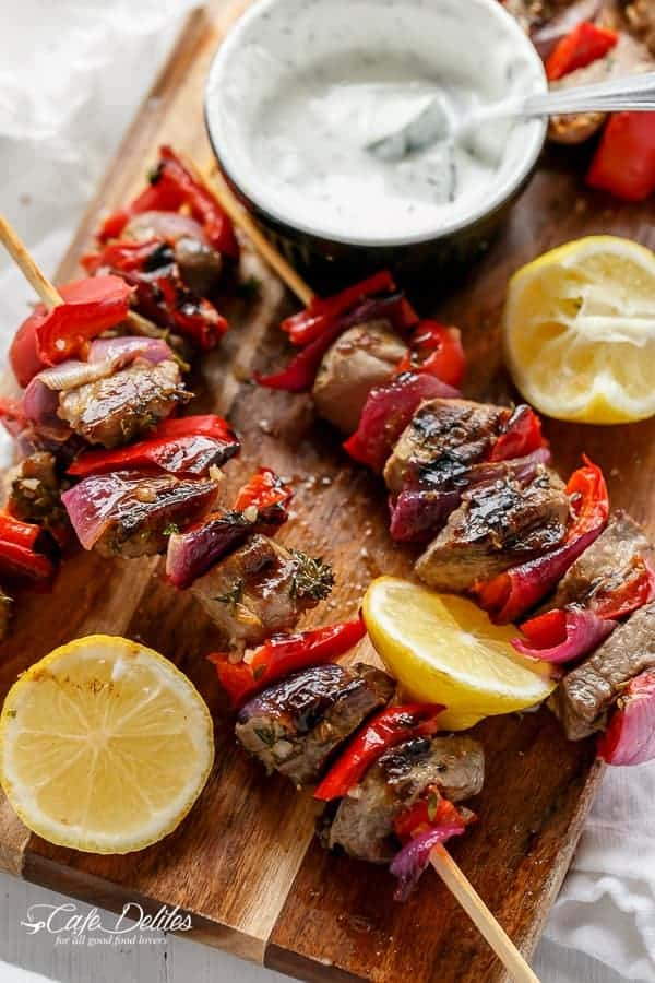 Greek Lamb Souvlaki with a Garlic Yogurt Dip | https://cafedelites.com