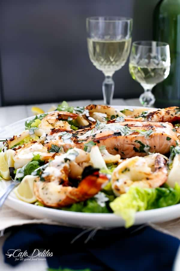 Barbecued Seafood Salad with Garlicky Greek Yogurt Dressing | http://cafedelites.com