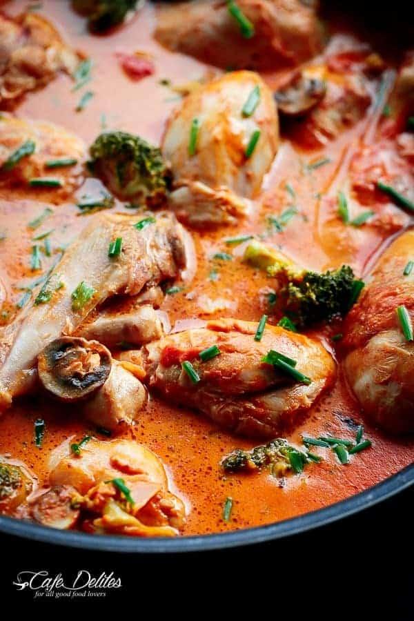 Creamy Tomato Chicken Drumsticks   https://cafedelites.com