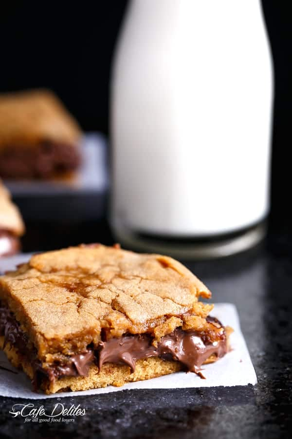 Nutella Stuffed Salted Caramel Blondies | http://cafedelites.com