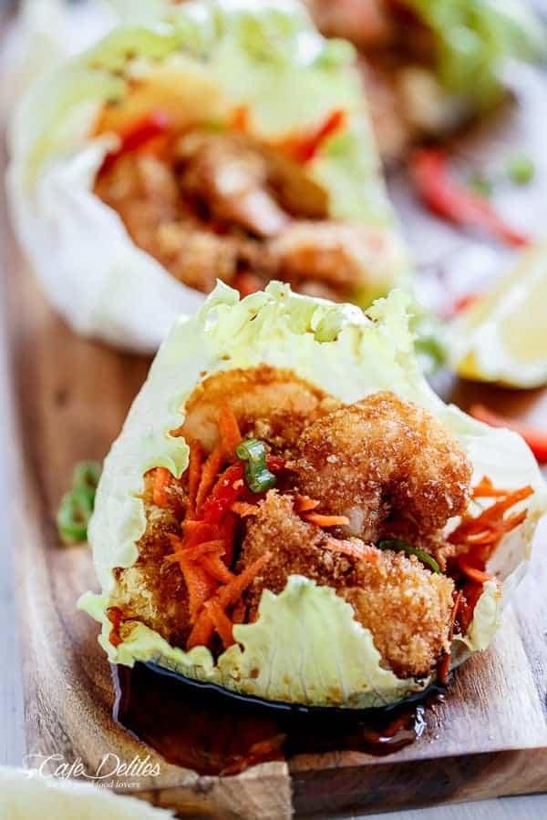Oven Fried Tempura Batter Shrimp Lettuce Wraps with Teriyaki Sauce | https://cafedelites.com