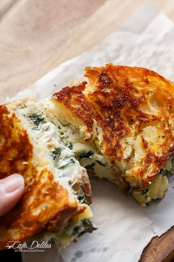 Spinach and Ricotta Grilled Cheese | http://cafedelites.com