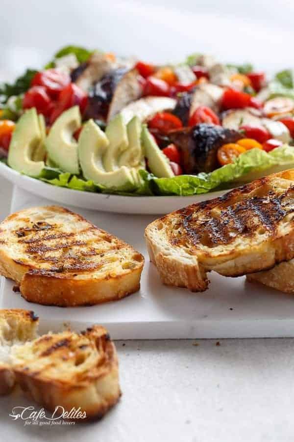Grilled Balsamic Chicken and Avocado Bruschetta Salad | https://cafedelites.com