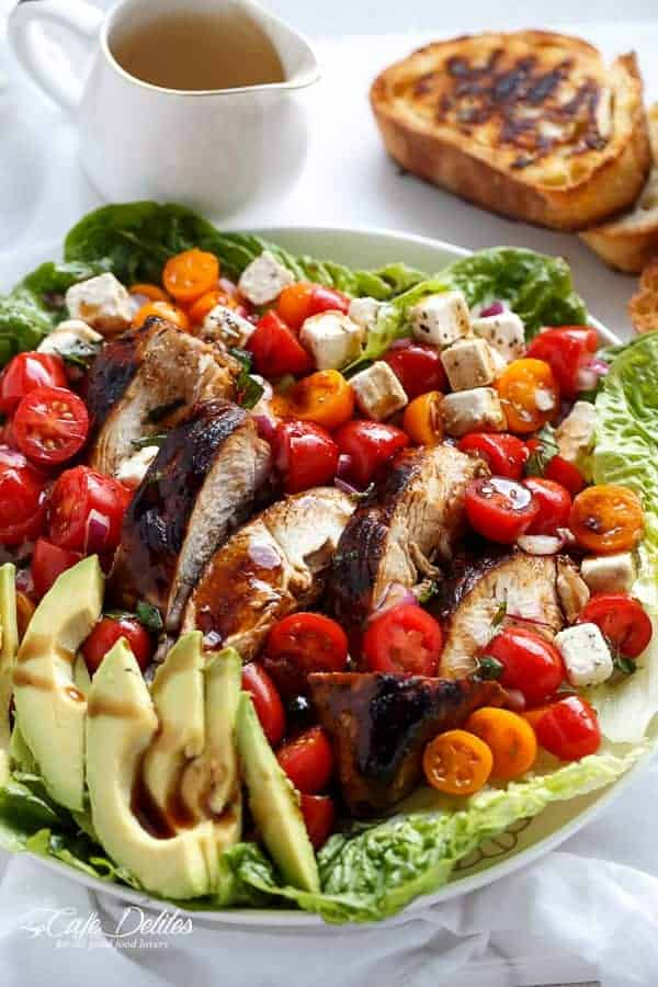 Grilled Balsamic Chicken and Avocado Bruschetta Salad | https://cafedelites.com