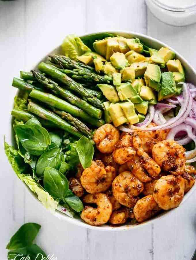 Blackened Shrimp, Asparagus and Avocado Salad