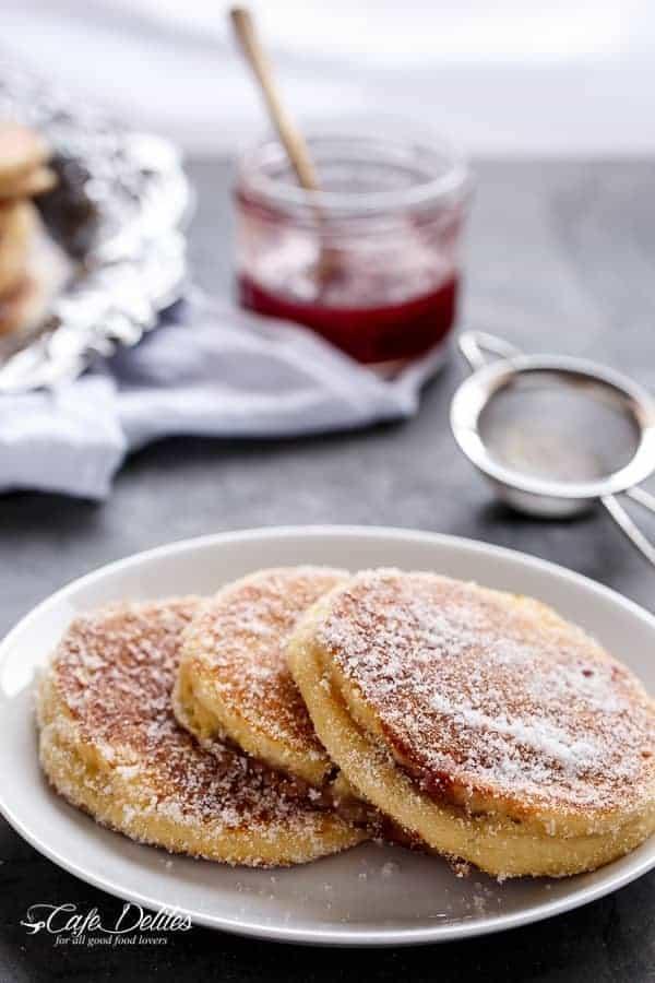 Jam (Jelly) Donut Pancakes | https://cafedelites.com