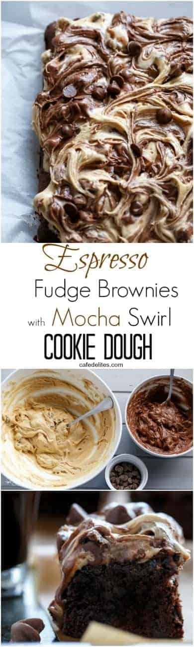 Espresso Fudge Brownies with Mocha Swirl Cookie Dough | http://cafedelites.com