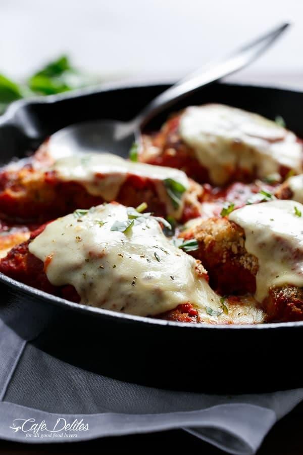 One Pan Mozzarella Stuffed Chicken Parmesan | https://cafedelites.com