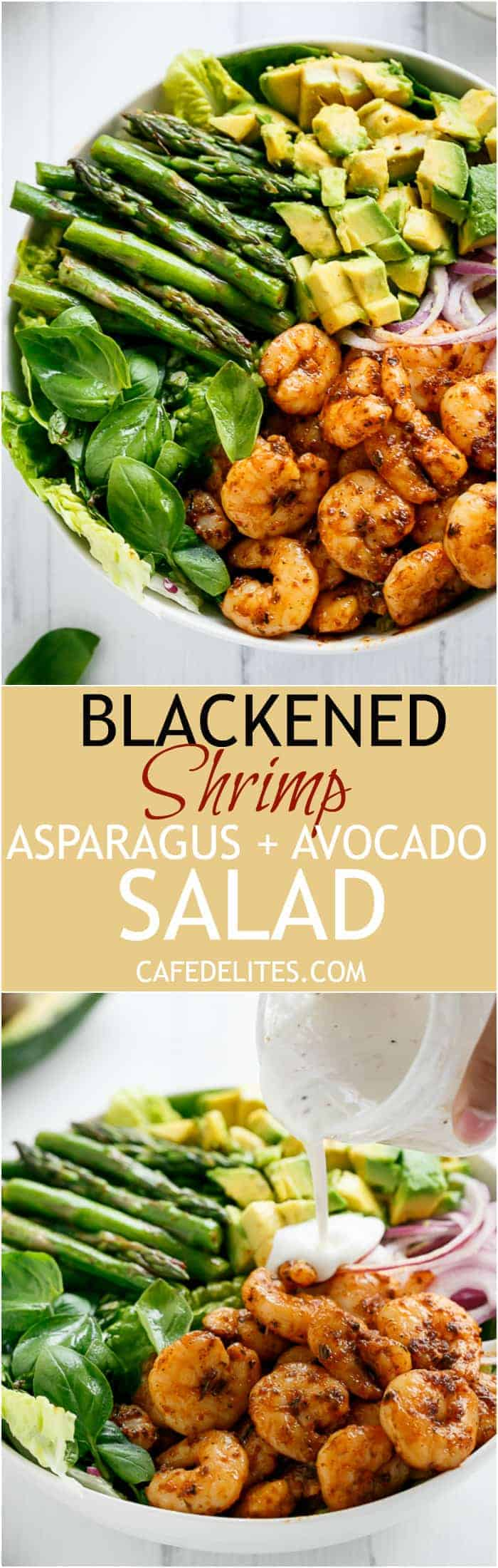 Blackened Shrimp, Asparagus and Avocado Salad with Lemon Pepper Yogurt Dressing | https://cafedelites.com