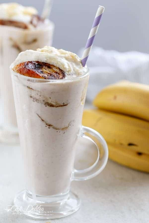 Banana Cream Pie Breakfast Smoothie with Fried Honey Bananas | https://cafedelites.com