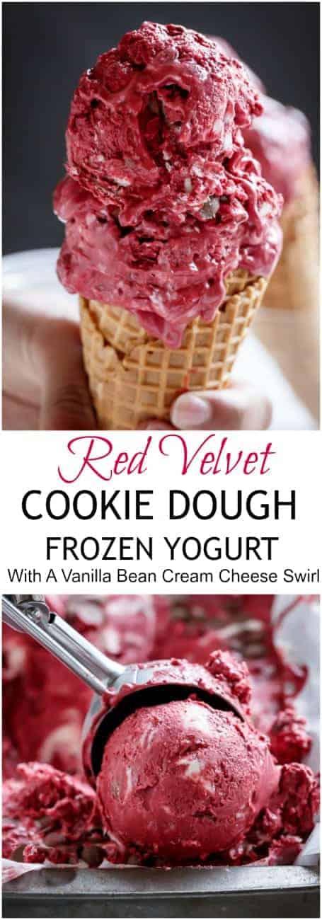 Red Velvet Cookie Dough Frozen Yogurt with a Vanilla Bean Cream Cheese Swirl   https://cafedelites.com