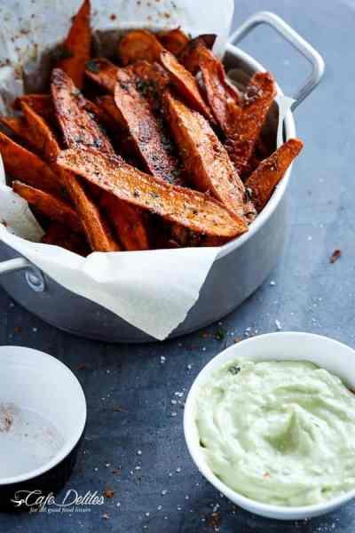 Crispy Sweet Potato Wedges with Garlic Avocado Aioli   https://cafedelites.com