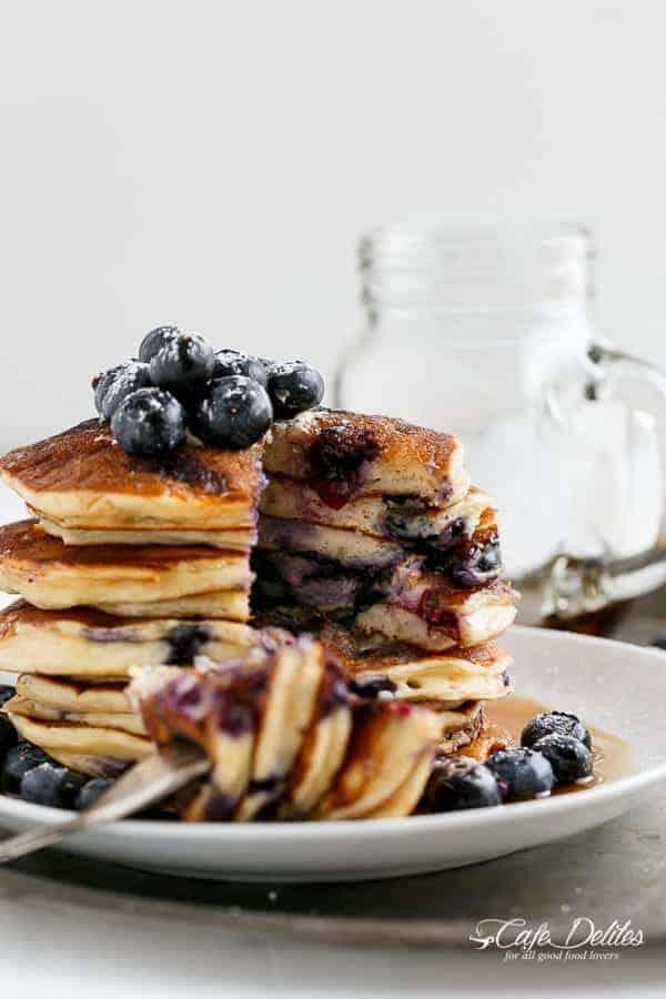 Blueberry Ricotta Pancakes | http://cafedelites.com