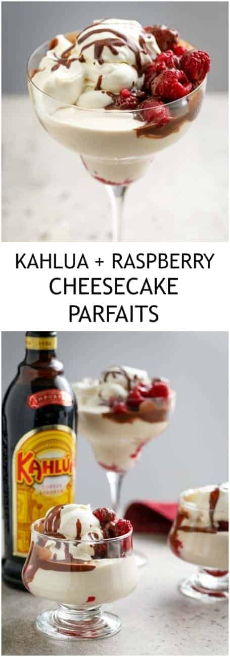No Bake Creamy Kahlua + Raspberry Cheesecake Parfaits with #LCHF #LowCarb or #WeightWatchers options!| https://cafedelites.com