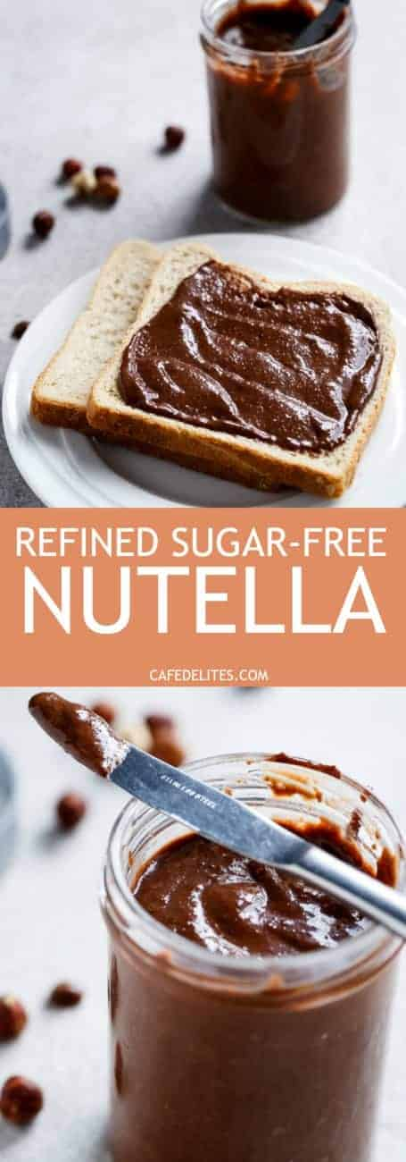 Refined Sugar-Free Nutella Spread! Enjoy it guilt free. Its rich, creamy and full of Nutella flavour, you won't want store bought Nutella again! | http://cafedelites.com