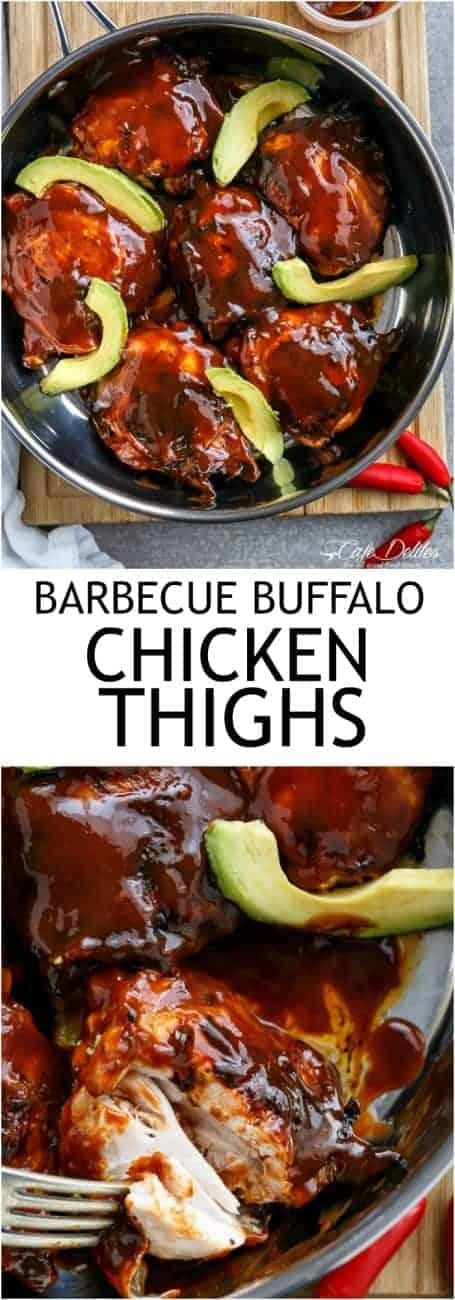 Barbecue Sauce Buffalo Chicken Thighs with Avocado   https://cafedelites.com