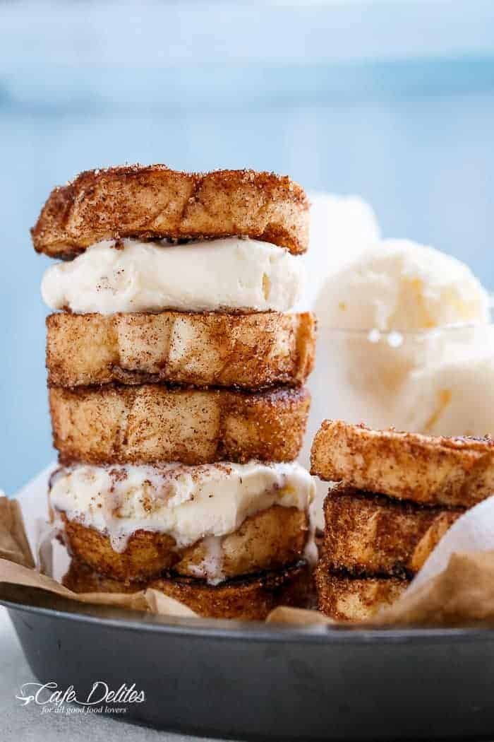 Churro French Toast Ice Cream Sandwich | http://cafedleites.com