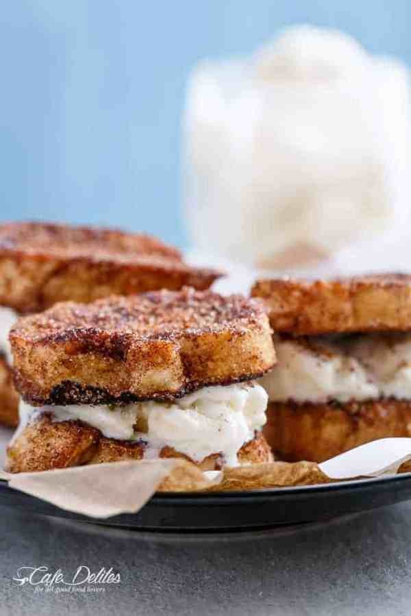 Crispy, buttery Churro french toasts sandwiches with your choice of ice cream or frozen yogurt for one of the best breakfasts ever invented! | https://cafedelites.com