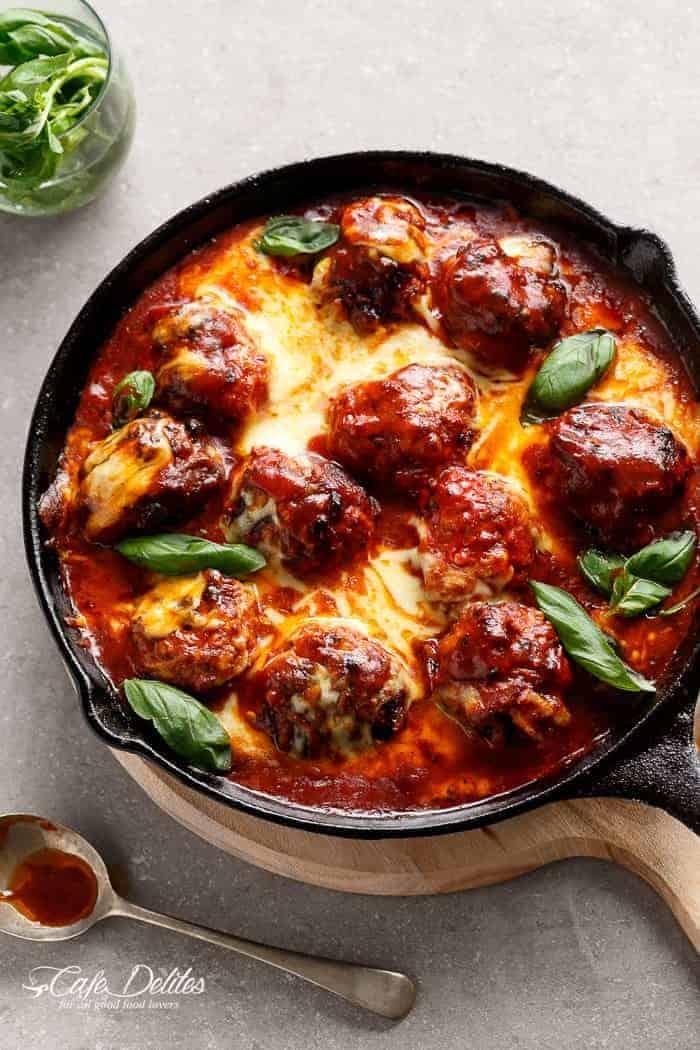 Sun Dried Tomato Cheesy Meatballs | https://cafedelites.com
