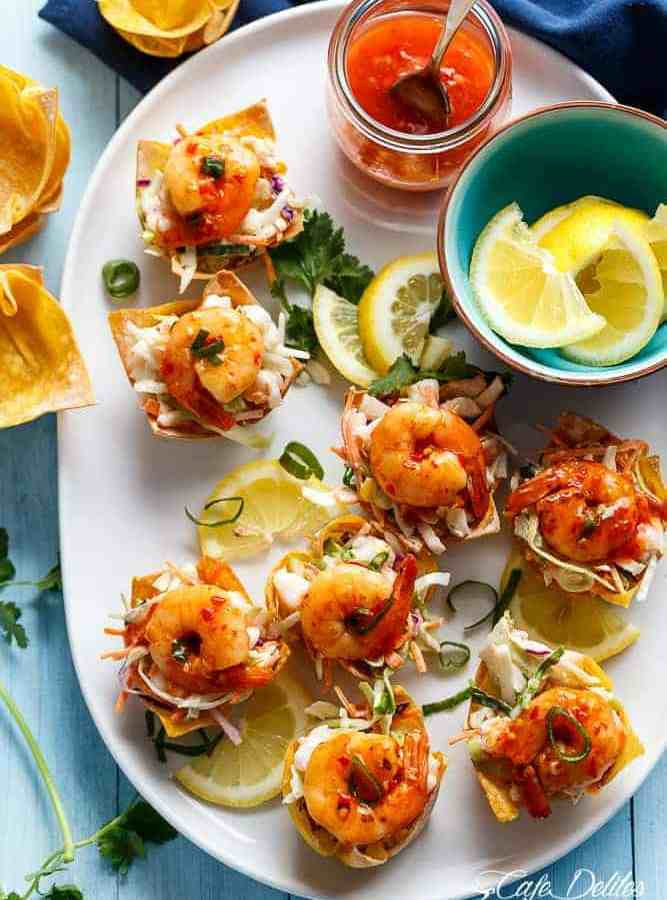 Garlic Prawn (Shrimp) Salad Wonton Cups