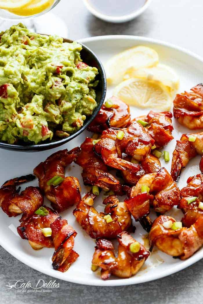 Bacon Wrapped Barbecue Honey Garlic Prawns (Shrimp)