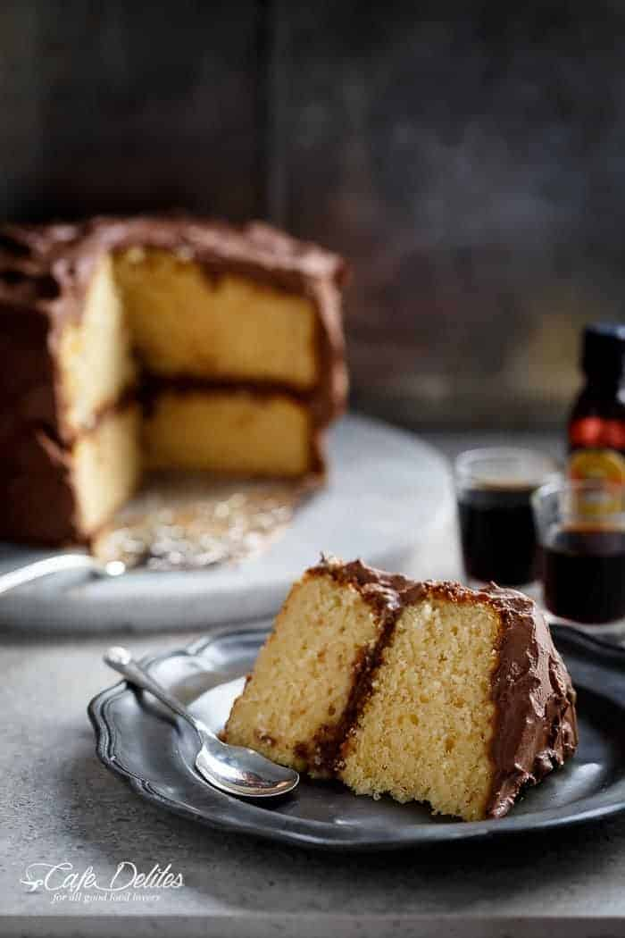 Butter Cake with Kahlua Chocolate Cream Frosting | http://cafedelites.com