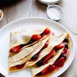 Blender Eggnog Crêpes made easy and fast in your blender! The perfect way to use up any leftover eggnog for a simple post-christmas breakfast.