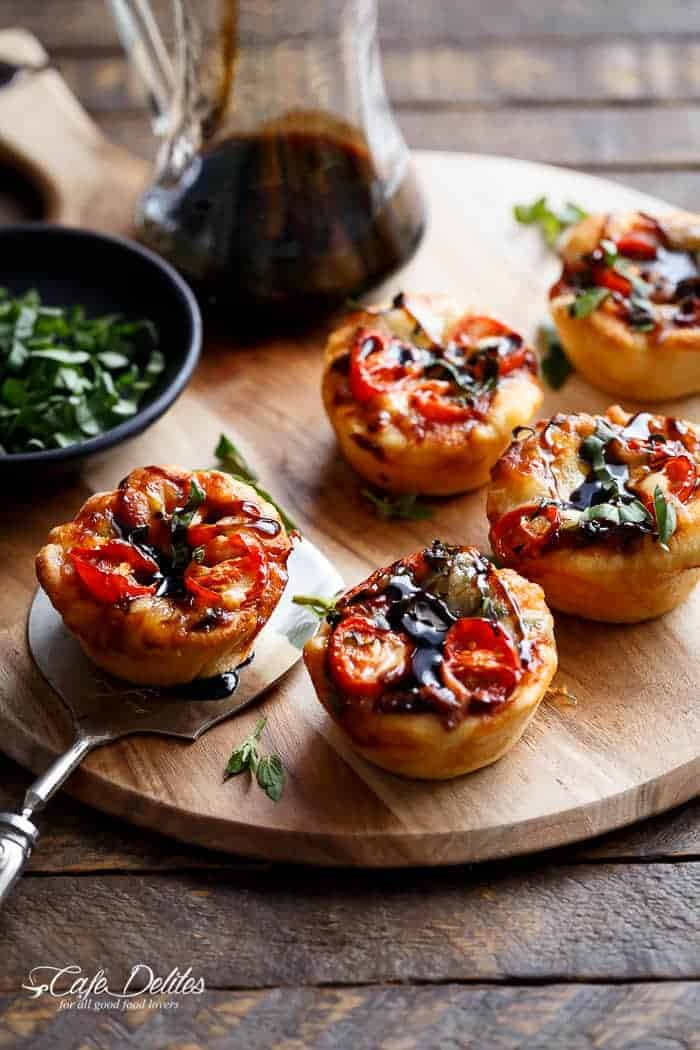 Mini Caprese Deep Dish Pizzas