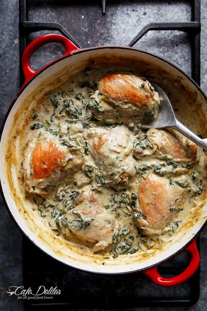 Creamy spinach artichoke chicken thighs cafe delites creamy spinach artichoke chicken thighs httpscafedelites forumfinder Image collections