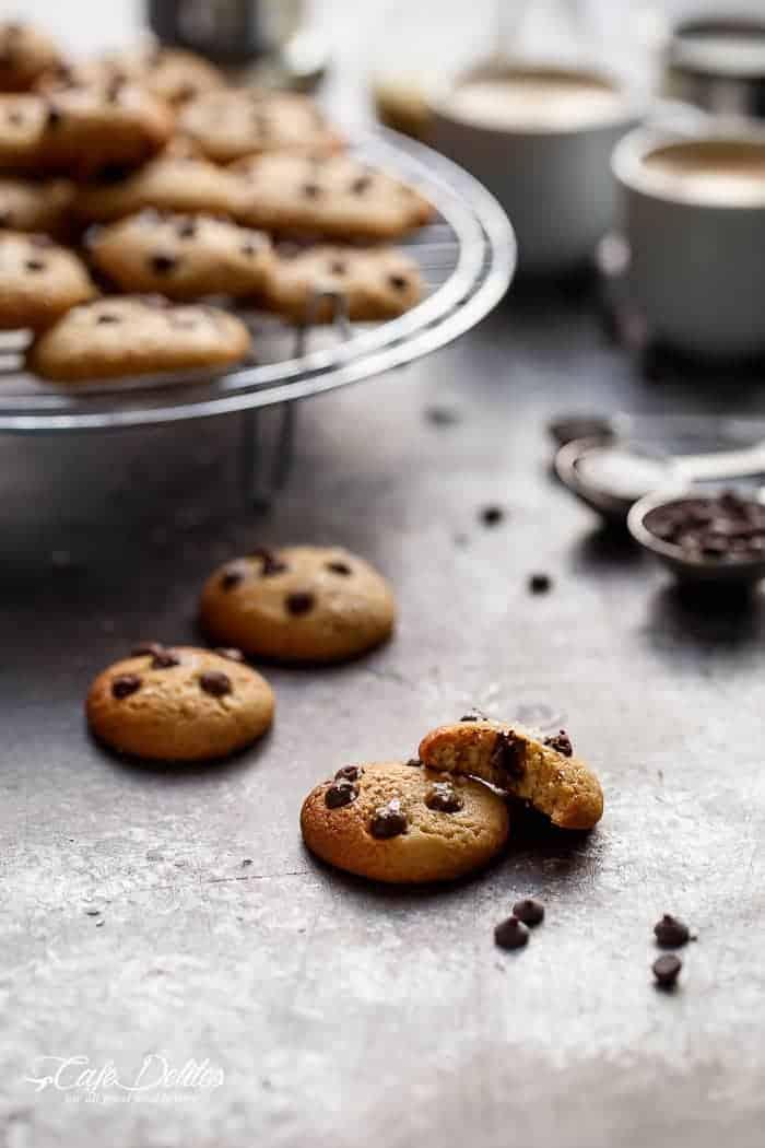 Mini Chocolate Chip Greek Yogurt Cookies | https://cafedelites.com