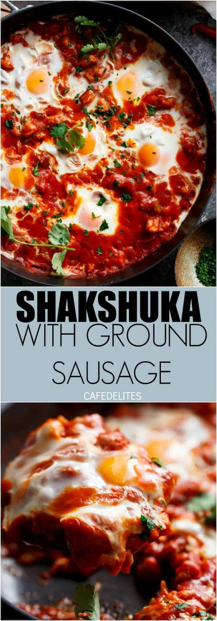 Eggs In Tomato Sauce (Shakshuka): thick, runny yolk meets rich tomato sauce. This is some good, fiery comfort food   https://cafedelites.com