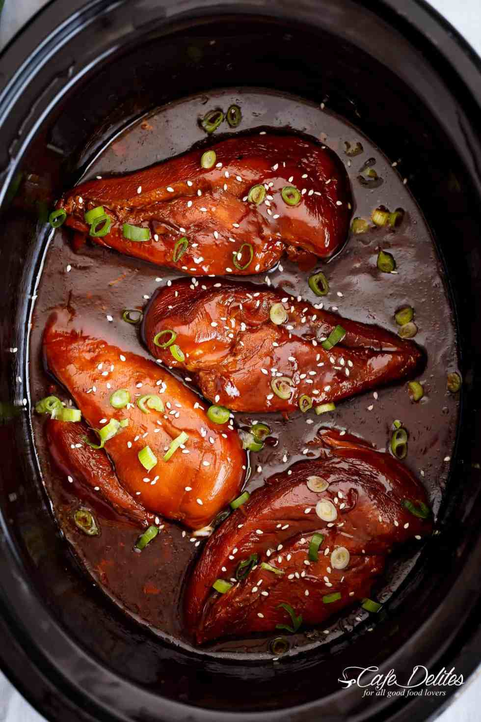 Slow Cooker Asian Glazed Chicken Breasts (or chicken thighs) | cafedelites.com