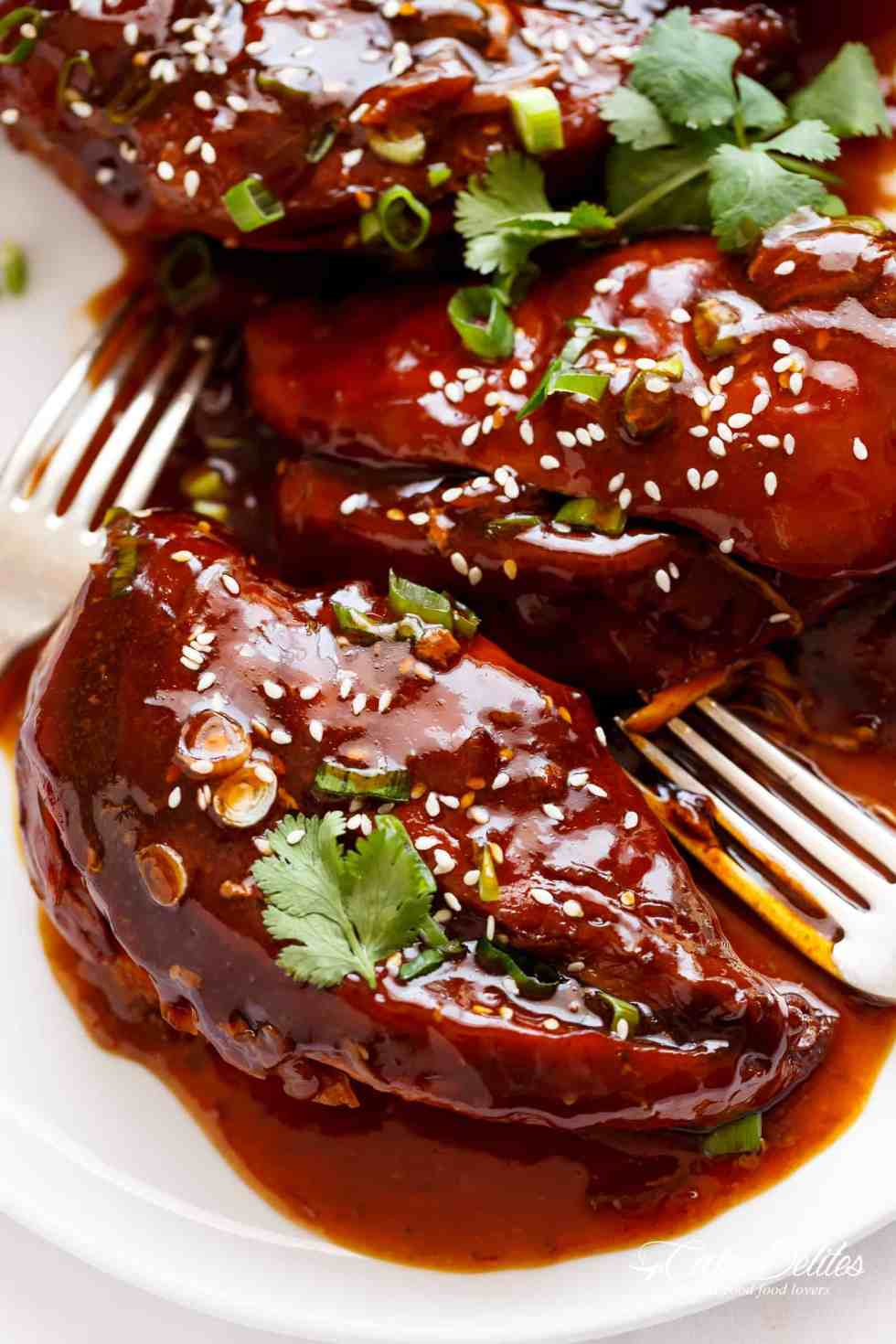 Slow Cooker Asian Glazed Chicken Breasts perfectly slow cooked and waiting for you when you get home. | cafedelites.com