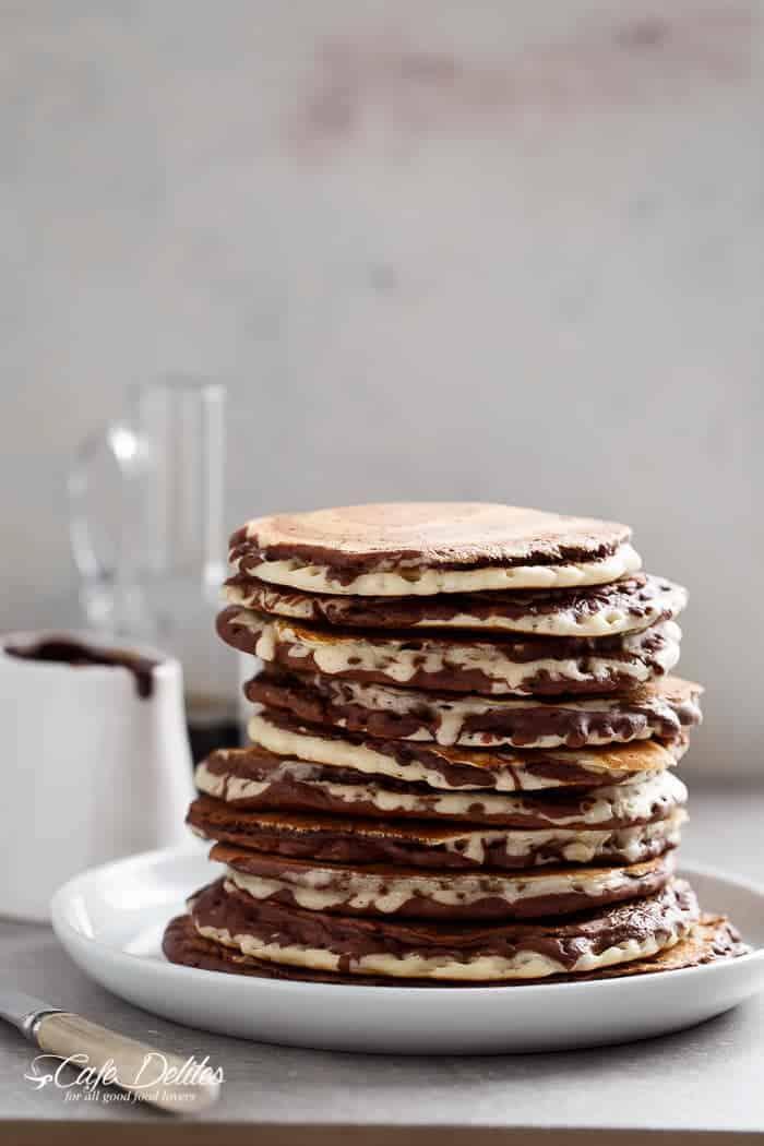 Zebra Marble Pancakes | https://cafedelites.com