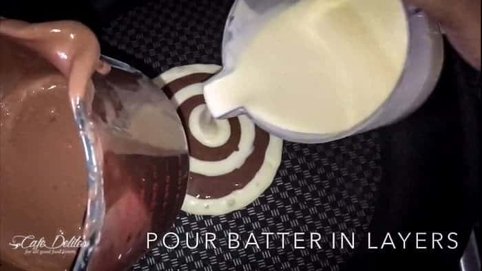 Zebra Marble Pancakes | http://cafedelites.com