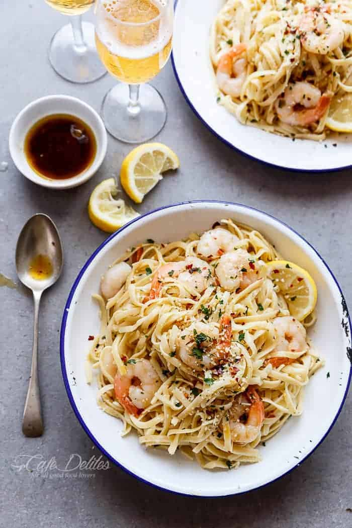 Browned Butter Shrimp Scampi with Parmesan Pasta! Recipe includes a VIDEO! | http://cafedelites.com