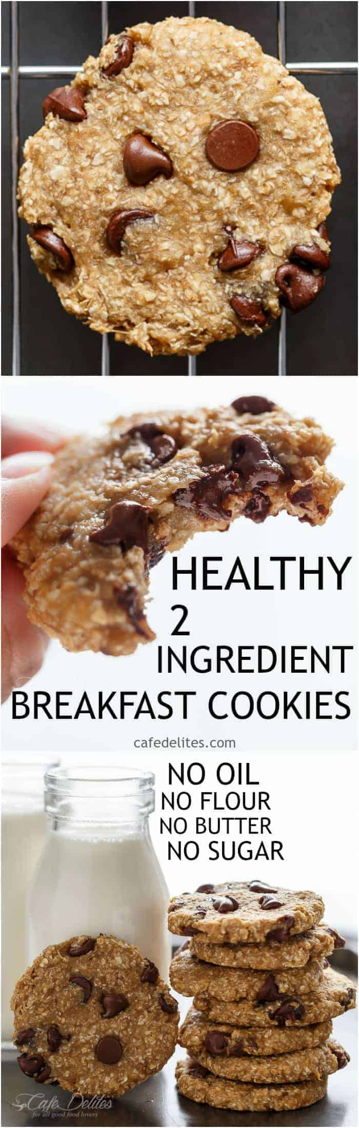 No flour. No oil. No refined sugars, Non fat. Weight Watchers friendly. Low calorie! These Healthy 2-Ingredient Breakfast Cookies are super easy to make!   http://cafedelites.com