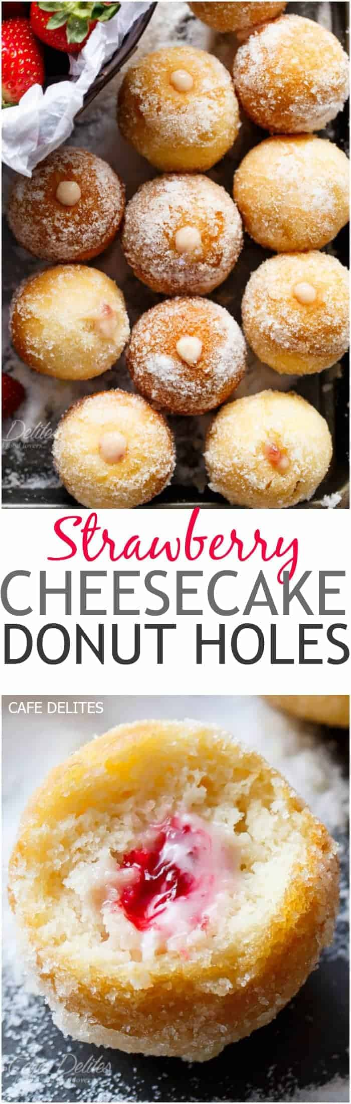 Lightened up soft and fluffy Strawberry Cheesecake Donut Holes, filled with sweet strawberry and creamy cheesecake filling! Enjoy with no guilt! | https://cafedelites.com
