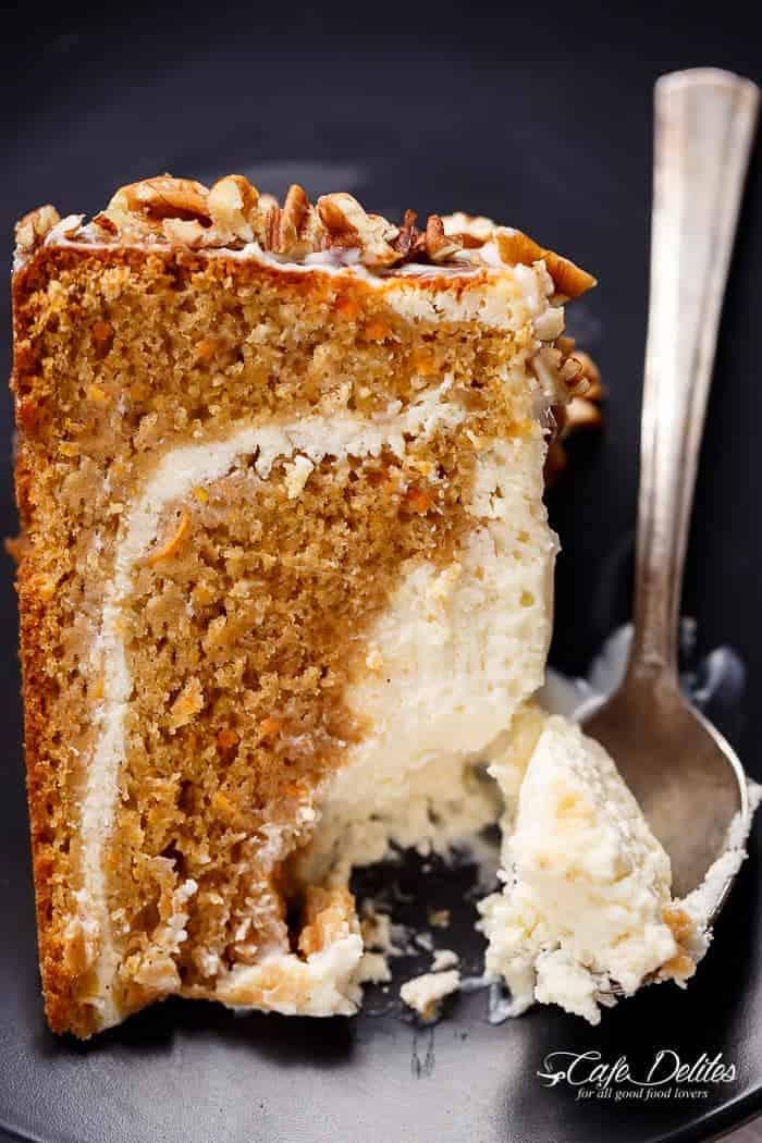 Carrot Cake Lemon Cheesecake | https://cafedelites.com